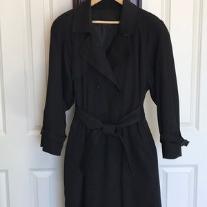 London Fog double breasted trench coat, black.